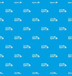 delivery truck pattern seamless blue vector image