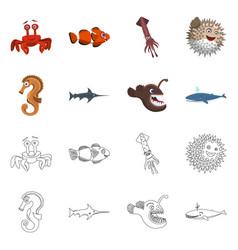 Design of sea and animal symbol set of sea vector