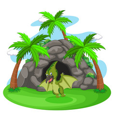 dinosaur standing in front of a cave vector image