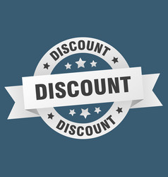 discount ribbon discount round white sign discount vector image