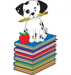 Dog on books vector