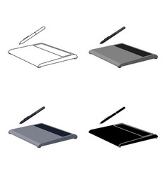 Drawing tablet icon in cartoon style isolated on vector