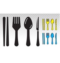 Equipment dining silverware or tableware flat vector