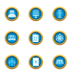 Factory sun icons set flat style vector