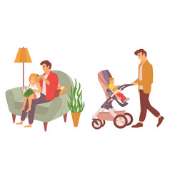 Father walking with child in perambulator set vector