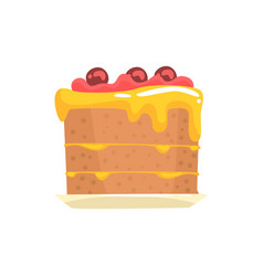 festive cake with cherries sweet dessert cartoon vector image