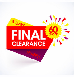 Final clearance sale paper banner design template vector