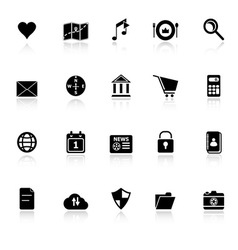 General application icons with reflect on white vector image