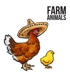 Ginger chicken with chick and sombreros vector