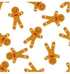 Gingerbread man seamless pattern vector