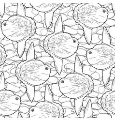 Graphic sunfish pattern vector