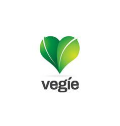 Green leaf with hearth shape logo symbol icon vector
