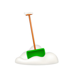 Green snow shovel standing in snow vector