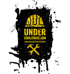 grunge scratched under construction warning road vector image