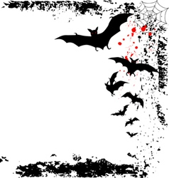 Halloween background with flying bats in full moon vector image