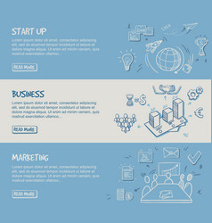 Hand drawn business infographic horizontal banners vector