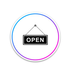 hanging sign with text open door icon isolated vector image