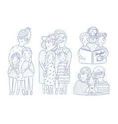 Happy grandparents with grandchildren set hand vector