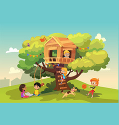 happy multiracial boys and girls playing and vector image