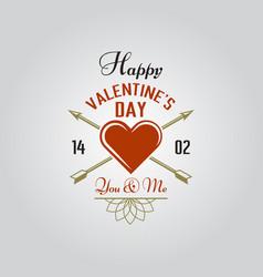 happy valentines day typographic label vector image