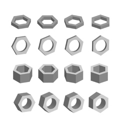 Hexagon Monochrome set of geometric prism shapes vector image