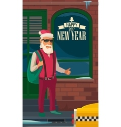 Hipster Santa Claus and taxi New York Flat vector image
