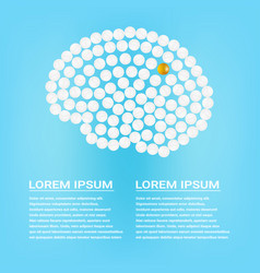 Human brain with pills with text isolated on a vector