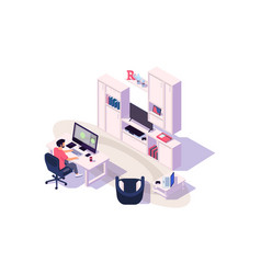 Isometric 3d cozy workplace with businessman at vector