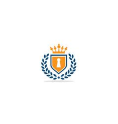 key shield crown emblem logo vector image