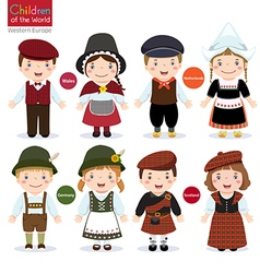 Kids in different traditional costumes Wales vector