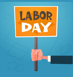 labor day poster retro greeting card with hand vector image