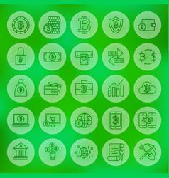 line web bitcoin icons vector image