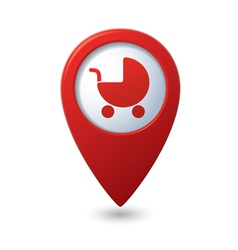 Map pointer with bacarriage icon vector