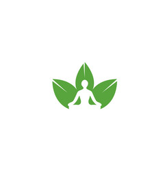 meditation with hands in air in leaves vector image