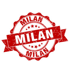 Milan round ribbon seal vector