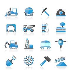 Mining and quarrying industry icons vector image