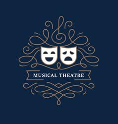 Musical theatre mono line banner vector