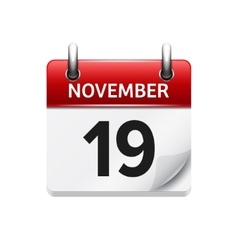 November 19 flat daily calendar icon vector