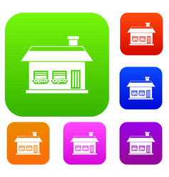 one storey house with two windows set collection vector image