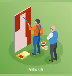 Painting walls isometric background vector