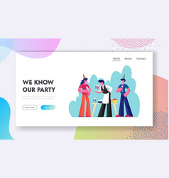 people celebrating party website landing page man vector image