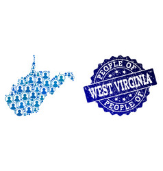 People composition of mosaic map of west virginia vector