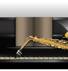 Piano front view close-up and saxophone vector