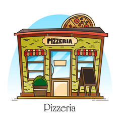 Pizzeria building with pizza at facade food shop vector