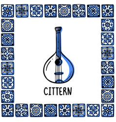 portugal landmarks set portuguese fado guitar vector image