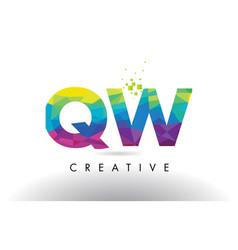 Qw q w colorful letter origami triangles design vector