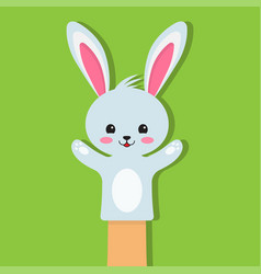 rabbit puppet on a green background vector image