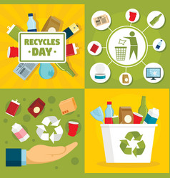 recycles day banner set flat style vector image