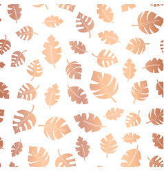 Rose gold foil leaves seamless background vector