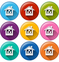 Round buttons with a family in a home vector image
